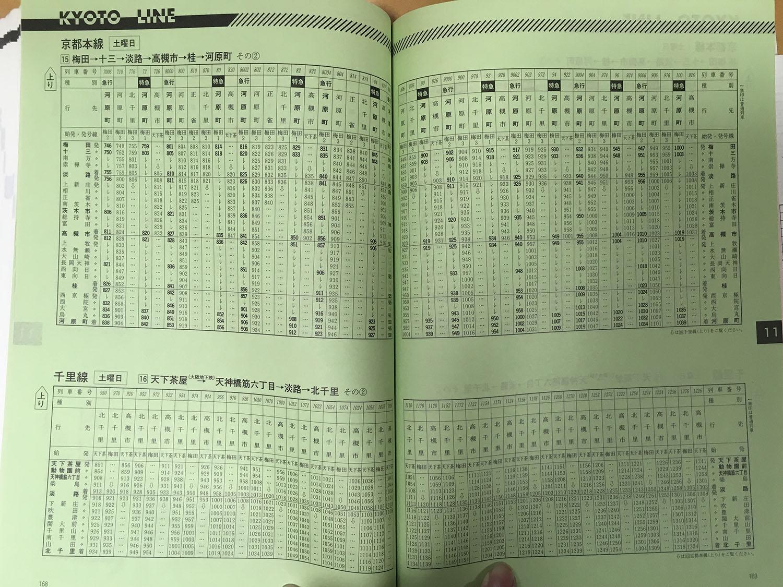 阪急京都線1998年当時の時刻表(上り梅田→河原町土曜日ダイヤ、朝ラッシュ時~昼間)です。