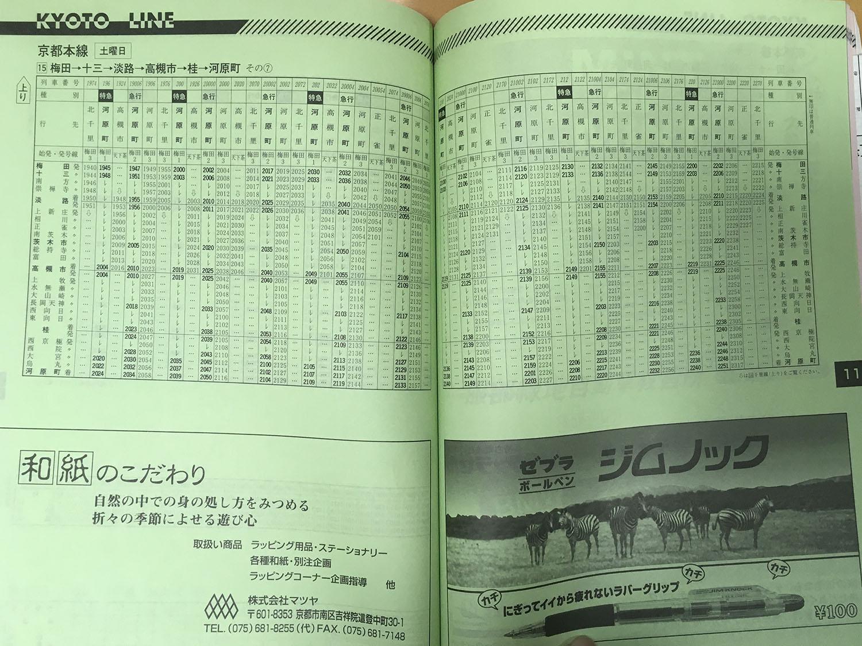 阪急京都線1998年当時の時刻表(上り梅田→河原町土曜日ダイヤ、夜間)です。