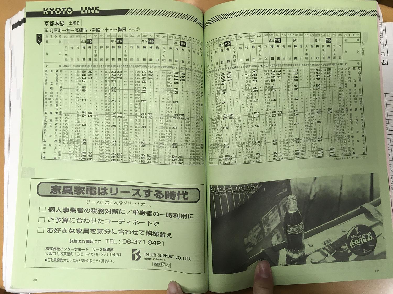 阪急京都線1998年当時の時刻表(下り 河原町~梅田 土曜日ダイヤ、夜間)です。