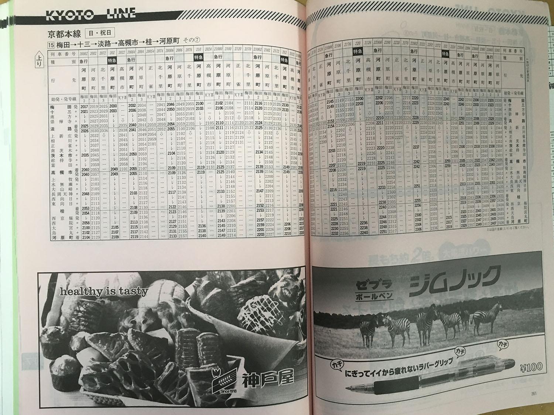 阪急京都線1998年当時の時刻表(上り梅田→河原町日曜日ダイヤ、夜間)です。