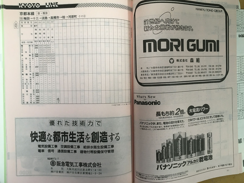 阪急京都線1998年当時の時刻表(上り梅田→河原町日曜日ダイヤ、夜間~終電)です。