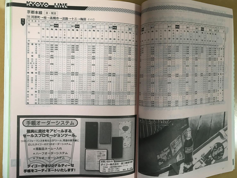 急京都線1998年当時の時刻表(下り 河原町~梅田 日曜日ダイヤ、夜間)です。