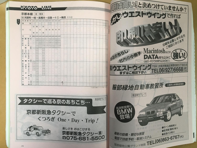 阪急京都線1998年当時の時刻表(下り 河原町~梅田 日曜日ダイヤ、夜間~終電)です。