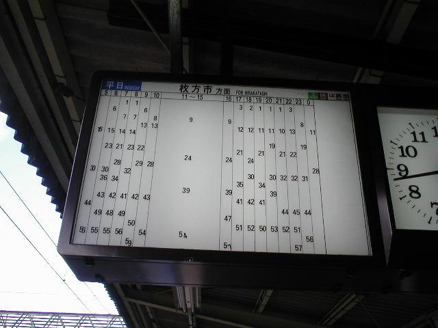 2002年撮影した私市駅の時刻表。昼間は15分に1回です。