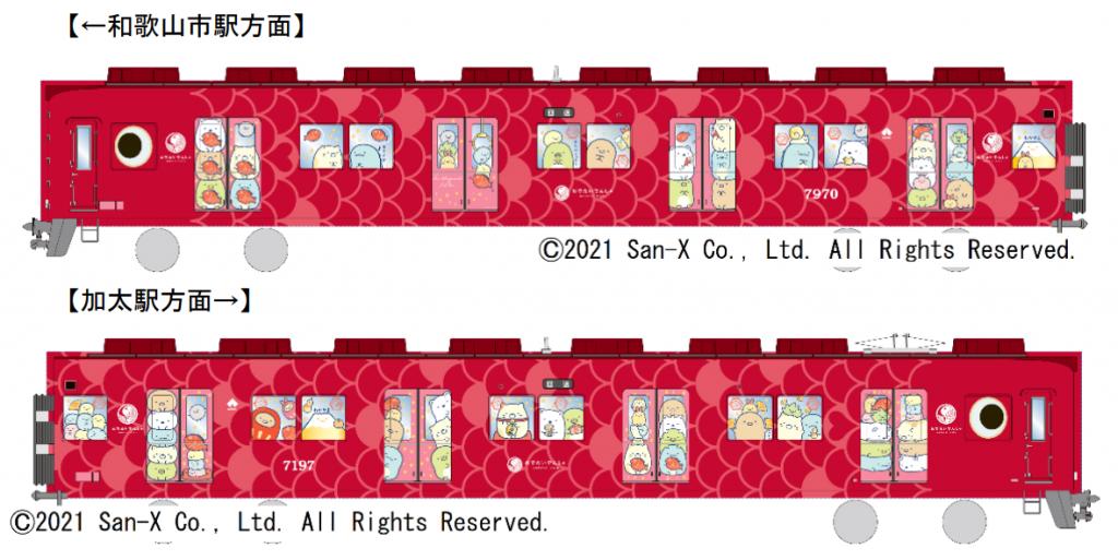 南海加太線「めでたい列車」に「すみっこぐらし」のラッピングが施されます。
